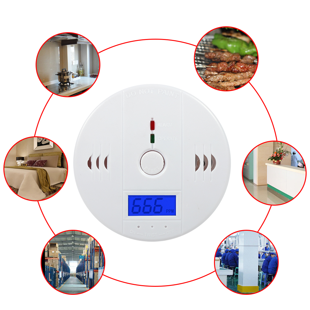 Carbon Monoxide Gas Detection,CO Detector Carbon Monoxide Alarm LCD Portable Security Gas CO Monitor,Battery Powered,Alarm Clock Warning, White