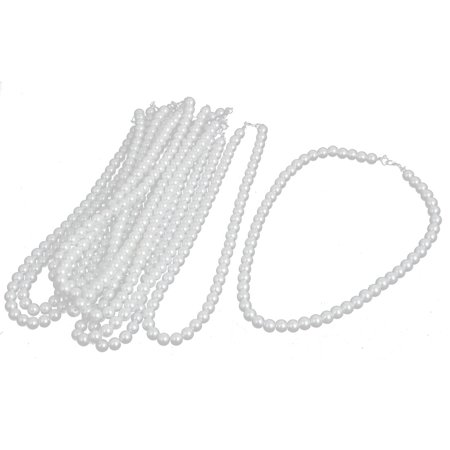 Wedding Faux Round Pearl Beaded Linked Necklace 42cm Length White 10pcs - White Bead Necklaces