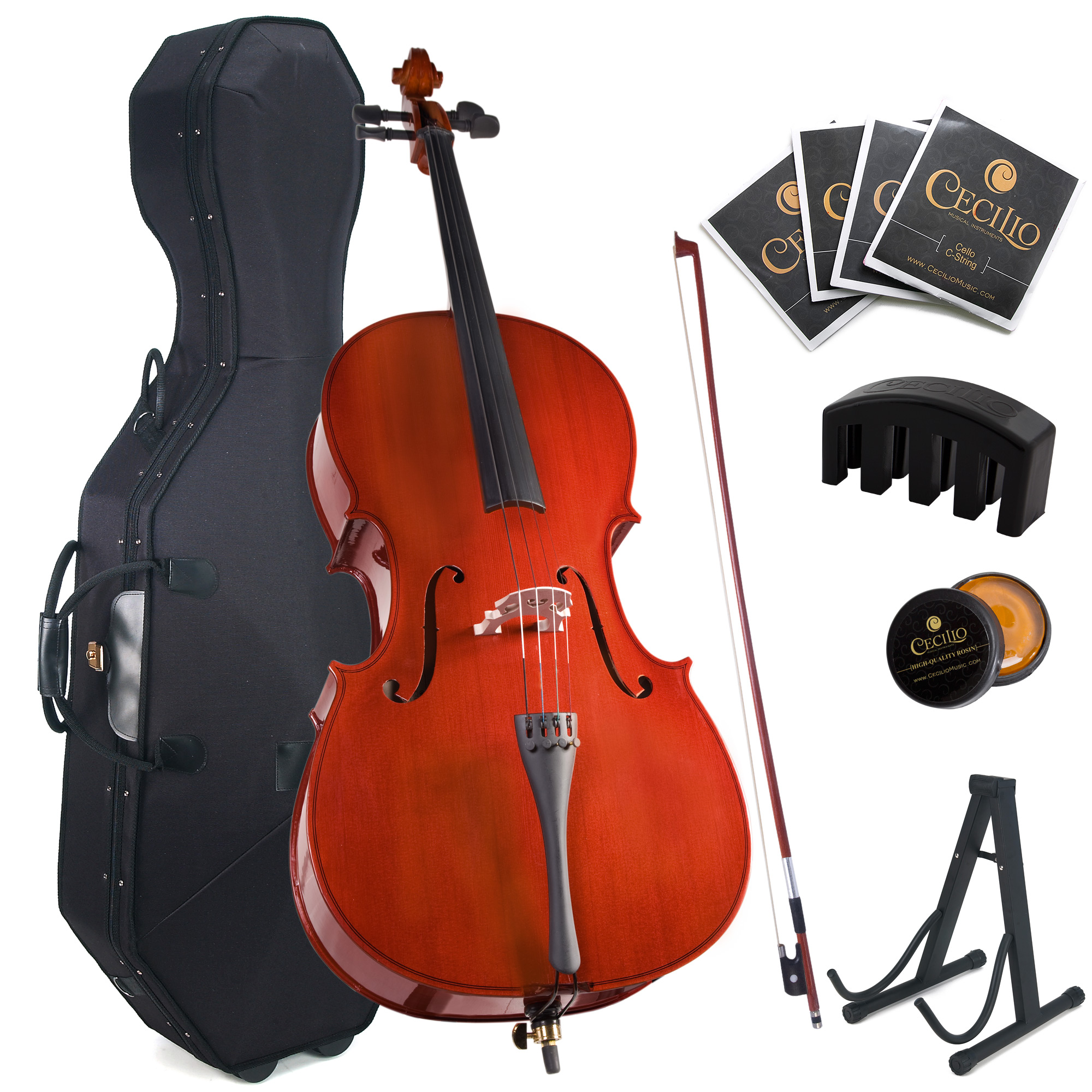 Cecilio Full Size 4 4 CCO-100 Student Cello with Hard & Soft Case, Cello Stand, Extra Set... by Cecilio Musical Instruments