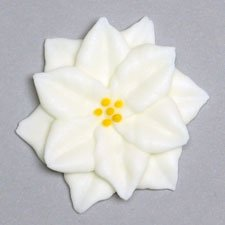 "White Poinsettia 1-3/4"" Royal Icing Cake/Cupcake Decorations 12 ct"