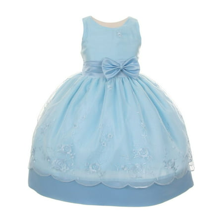 Little Girls Blue Organza Embroidery Bow Sash Flower Girl Dress - Blue Flower Girls Dresses