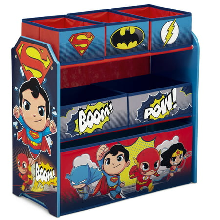 DC Super Friends (Batman, Robin, Superman, Wonder Woman, The Flash) Multi-Bin Toy Organizer by Delta - Flashing Toys