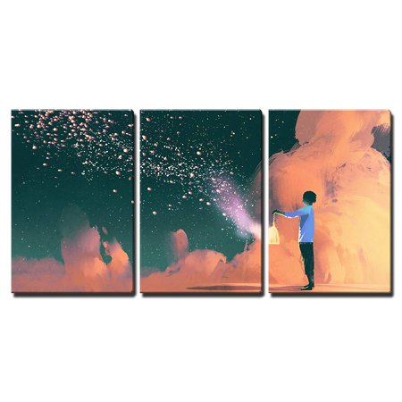wall26 - 3 Piece Canvas Wall Art - Man Holding a Cage with Floating Shinning Star Dust,Illustration Painting - Modern Home Decor Stretched and Framed Ready to Hang - 24