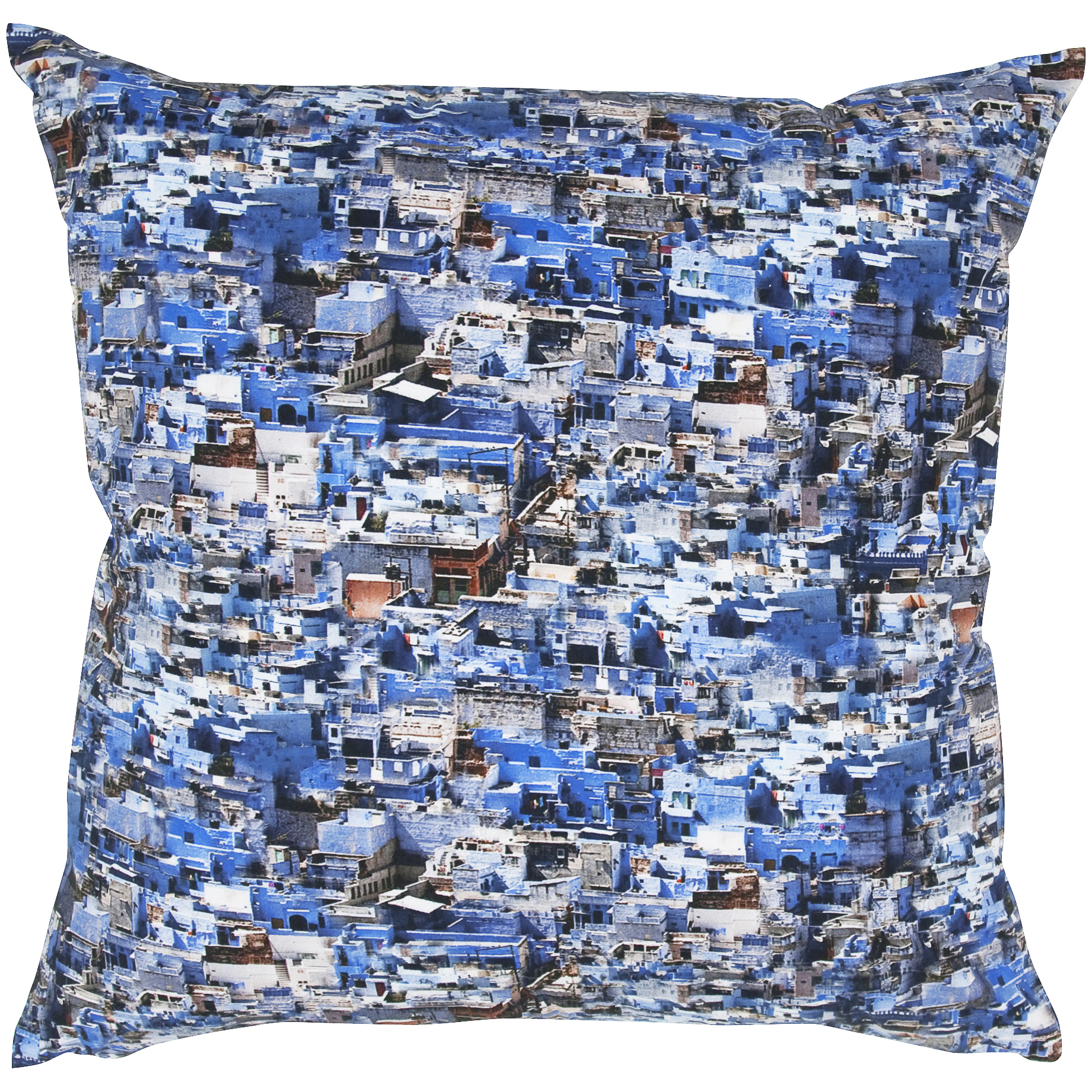 Room with a View Blue/ White Digital Photo Print Feather-filled Throw Pillow