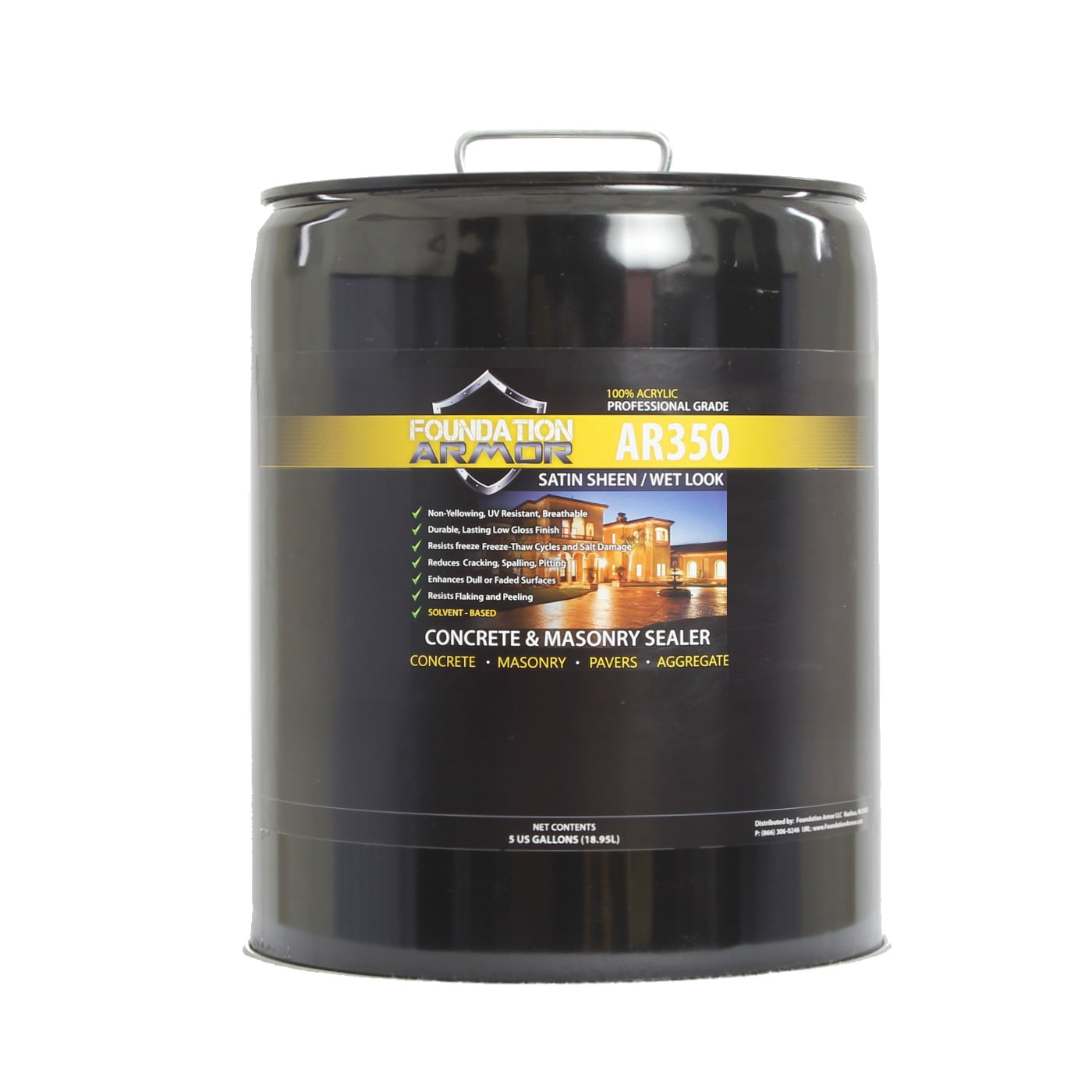 5 Gallon Armor AR350 Wet Look Concrete Sealer and Paver Sealer by Foundation Armor