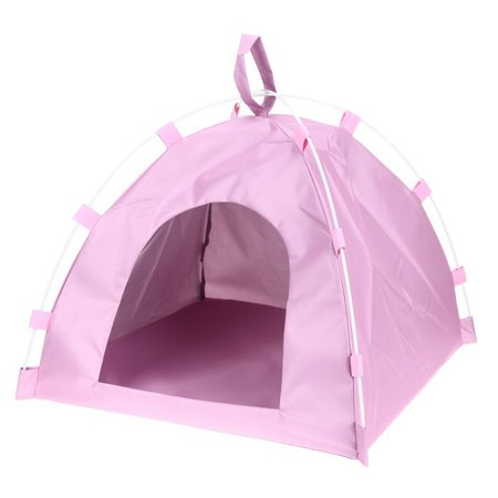 Pet Teepee Dog Cat Bed - Portable Dog Tents & Pet Houses Indoor Outdoor Portable Teepee Mat Dog Supplies,Pink (Cat Food Tent)