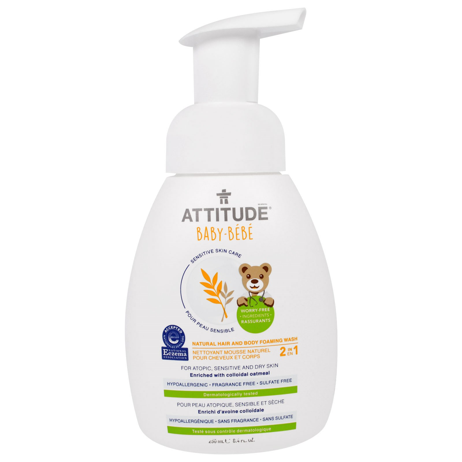 ATTITUDE, Sensitive Skin Care, Baby, 2-in-1, Natural Hair and Body Foaming Wash, Fragrance Free, 8.4 fl... by
