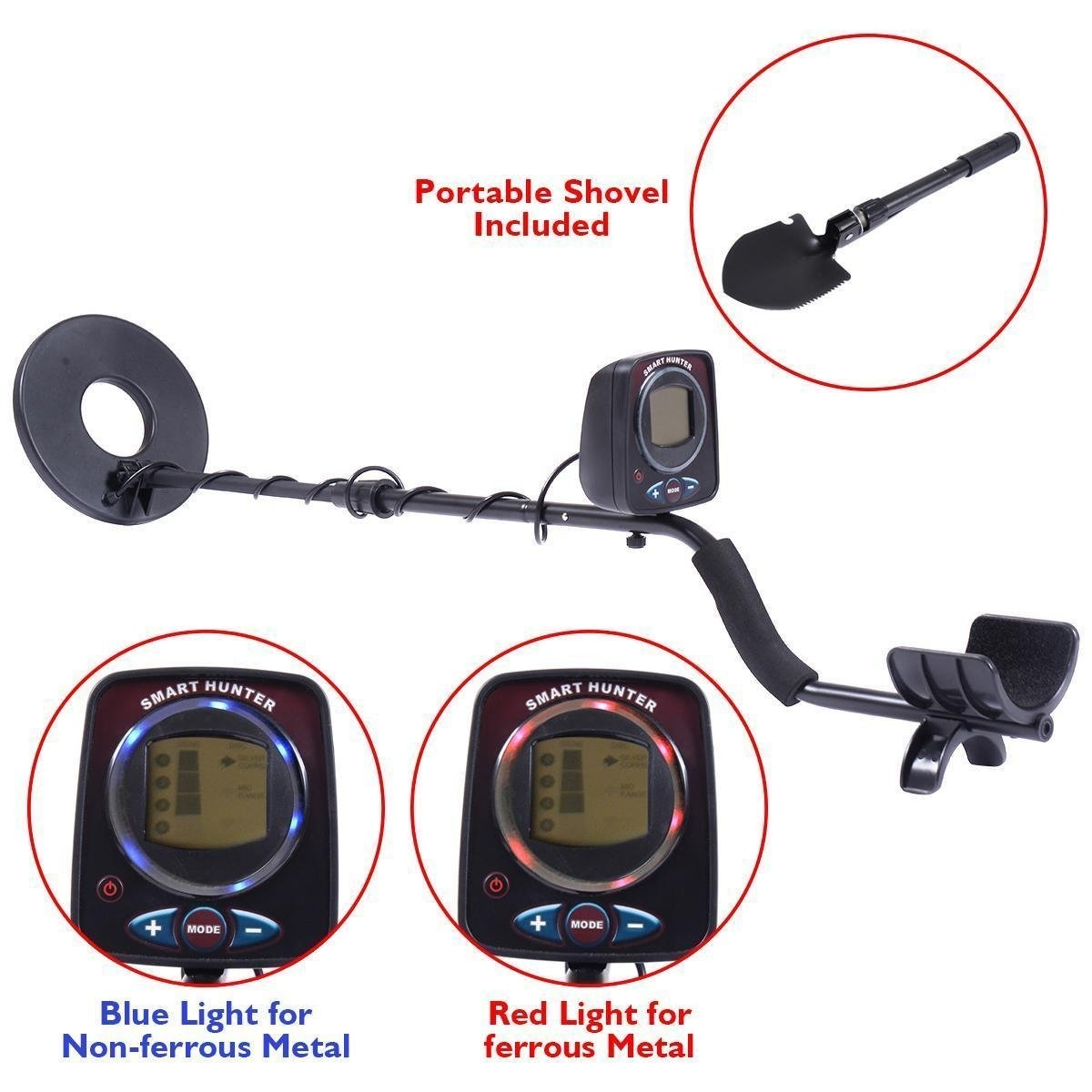 New MTN-G LCD Metal Detector Kit Sensitive Search Treasure Hunter w Shovel Waterproof Coil by MTN Gearsmith