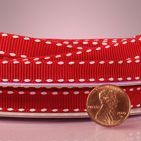 Stitched Grosgrain (Red White Narrow 3/8 inches x 25 yards Saddle Stitched Striped Decorative Grosgrain Ribbon )