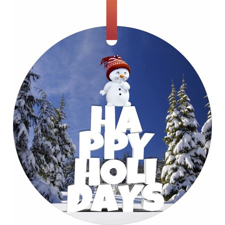 Round Snowman (Happy Holidays Typography - Snowman Flat Round - Shaped Christmas Holiday Ornament - Made in the)