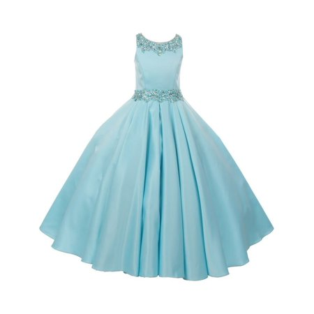 Little Girls Aqua Shimmery Beaded Pleated Dull Satin Flower Girl Dress