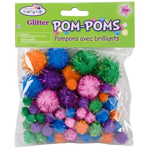 Pom-Poms Glitter Pack 75/Pkg-Assorted Glamour Colors And Sizes