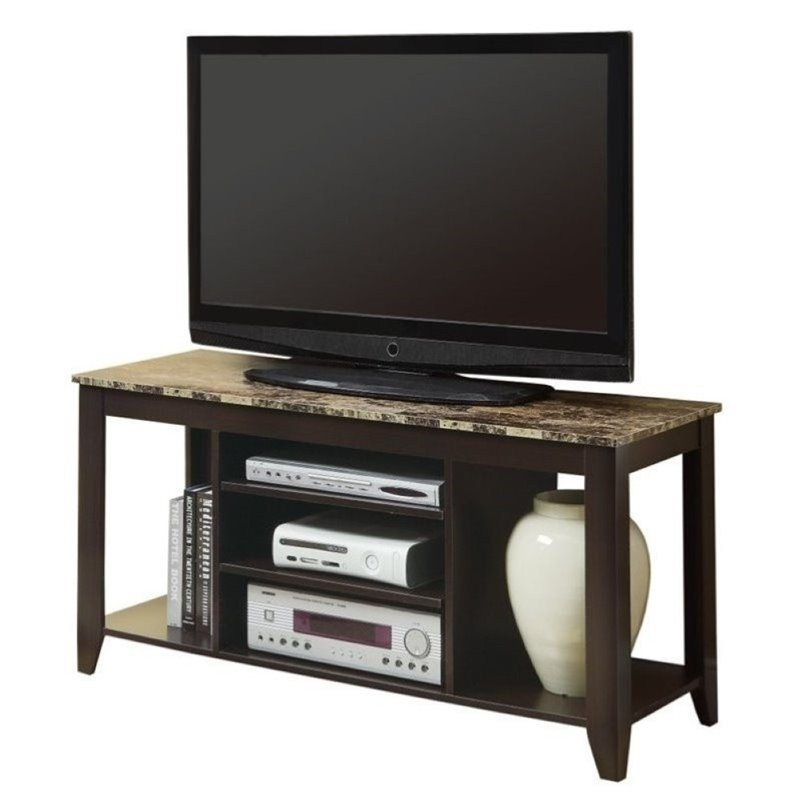 "Pemberly Row 48"" Marble TV Stand in Cappuccino - image 3 of 3"