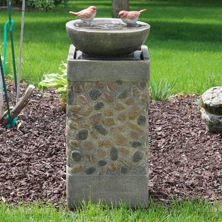 Sunnydaze Bird Bath Basin On Pedestal Outdoor Garden Water