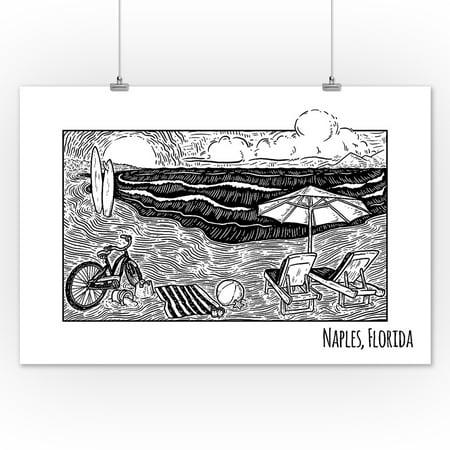 Naples, Florida - Beach Scene - Lantern Press Artwork (12x18 Art Print, Wall Decor Travel Poster) - Naples Long Beach Halloween