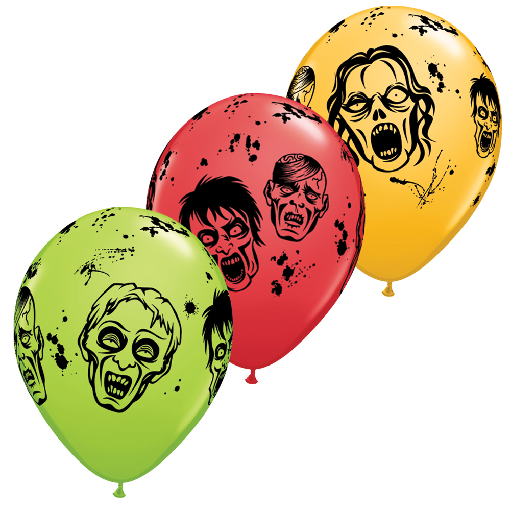 "Qualatex Halloween Zombies 11"" Latex Balloons, Multicolors, 6 CT"