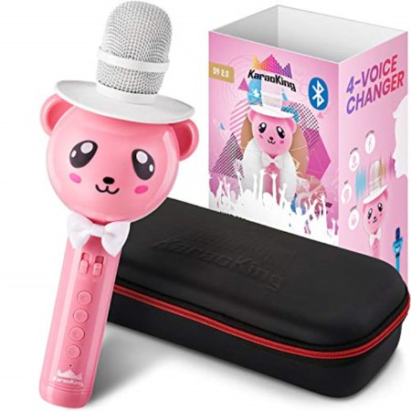 Wireless Karaoke Microphone for Kids Bluetooth Mic Great for Solo Singing, KTV Parties, Magic Boys and Girls Christmas or Bi