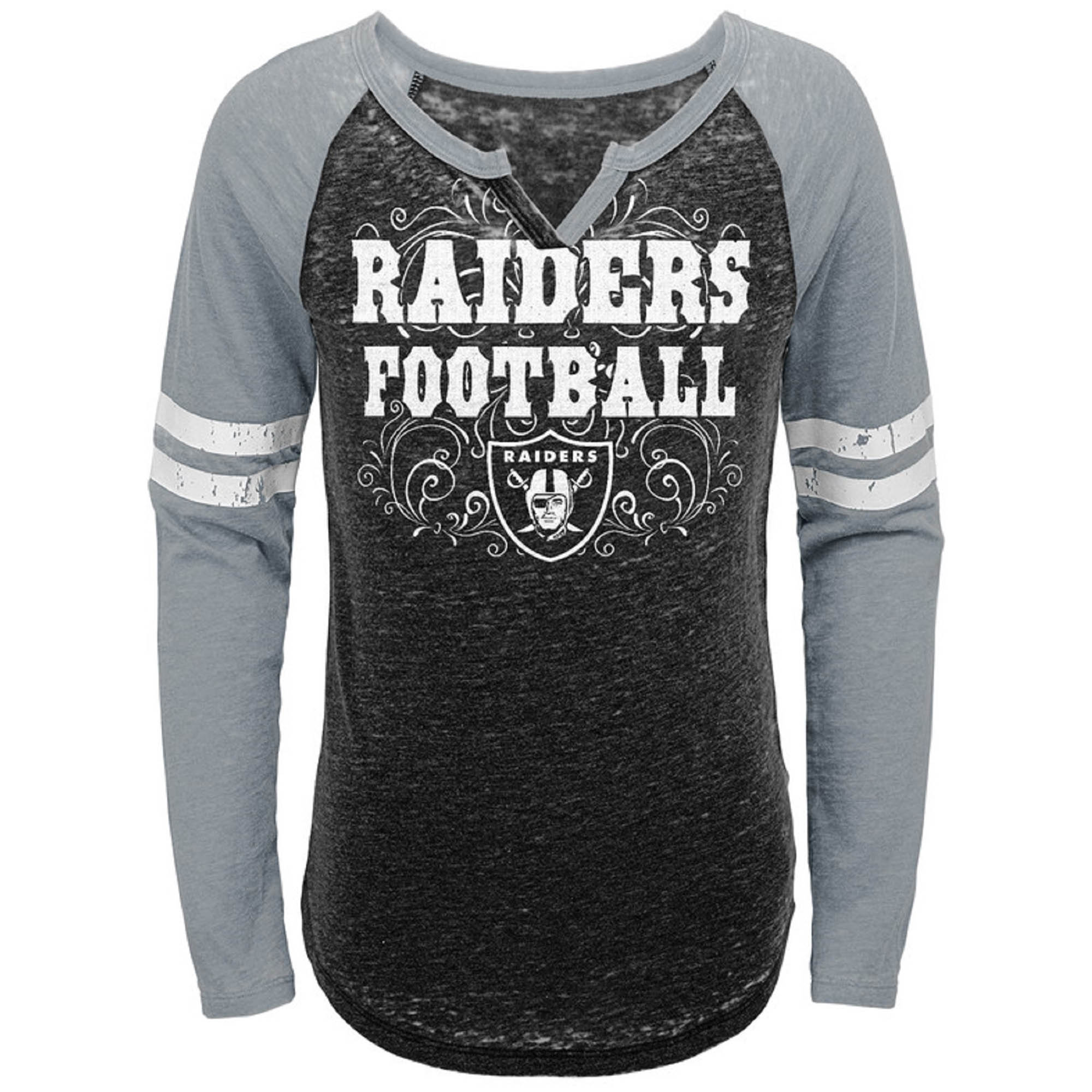 Girls Youth Black/Silver Oakland Raiders Burnout Long Sleeve V-Notch T-Shirt