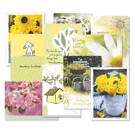 Get Well Greeting Cards Value Pack- Set of 20 (10 designs) Large 5 x 7, Sentiments Inside, Get Well Soon Cards, Get Well