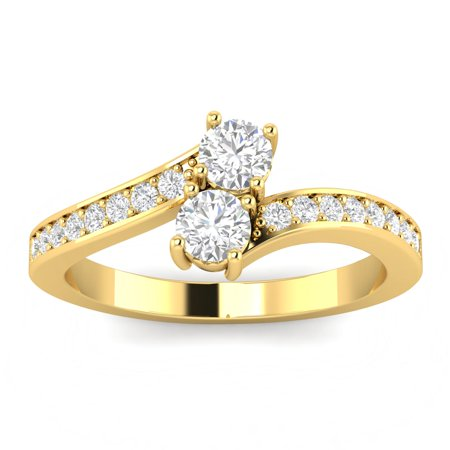 0.75ctw Diamond Two Stone Ring in 10k Yellow Gold (L-M, I2-I3, 0.75ctw)