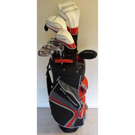 Mens Taylormade Golf Set Complete Driver Fairway Wood Hybrid Irons Putter Clubs Cart Bag Stiff Flex Right Handed