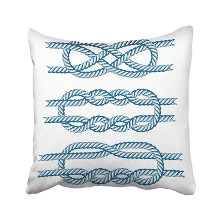 ARTJIA Blue Hitch Sea Boat Rope Knots Marine Navy Cable Natural Tackle Sign White String Bend Pillowcase Cover 18x18 inch (Boat Cable Cover)