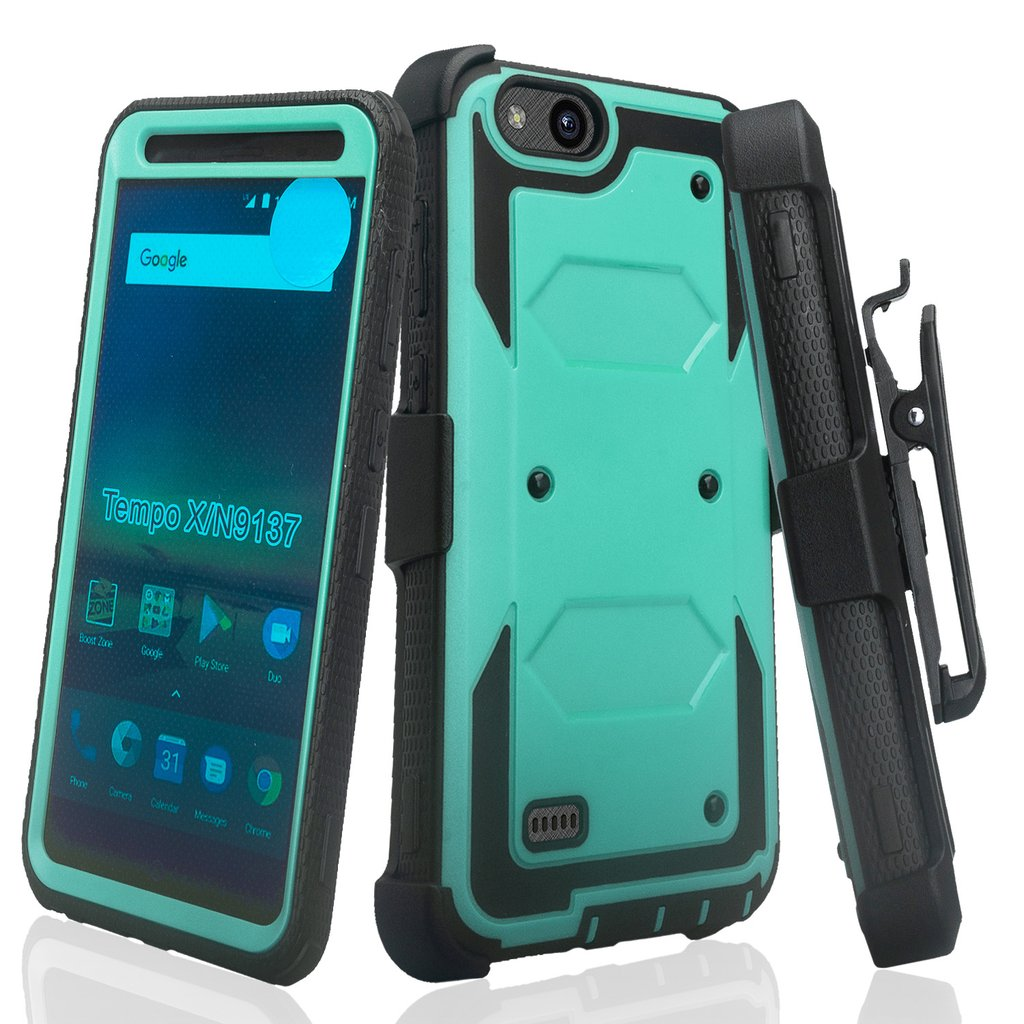 ZTE Tempo X, N9137, ZTE Blade Vantage Case, Triple Protection 3-1 w/ Built in Screen Protector Heavy Duty Holster Shell Combo Case Cover - Black - image 4 de 4