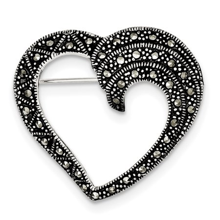925 Sterling Silver Marcasite Heart Pin