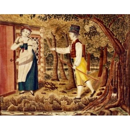 Couple in a Landscape -20th C Pennsylvania Dutch 20TH C Artist Unknown OIL ON CANVAS Canvas Art - (24 x 36)