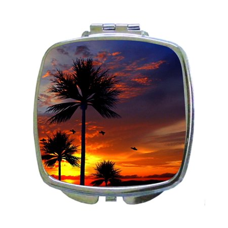 Olds Silhouette Heated Mirror (Palm Tree Silhouette Beach Boardwalk Sunset Oasis - Compact Beauty Mirror - Square)