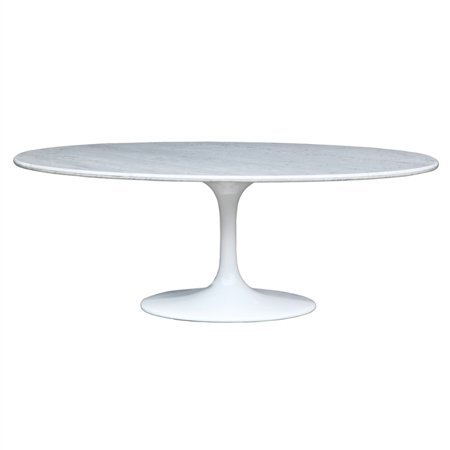 Fine Mod Flower Marble Oval Table White