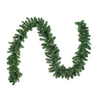 "Northlight 9' x 10"" Prelit Oak Creek Pine Green Artificial Christmas Garland - Clear Lights"