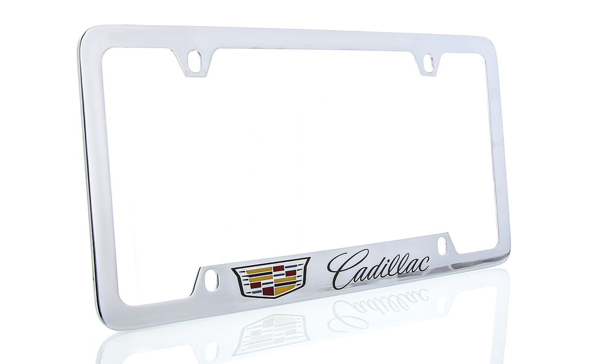 Sparkoo Stailess Steel Metal License Plate Frames Cover Holder Sport for Cadillac 2