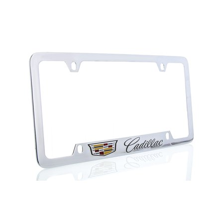 Cadillac with Crest Brass License Plate Frame with Chrome Finish bottom engraved (4 hole)