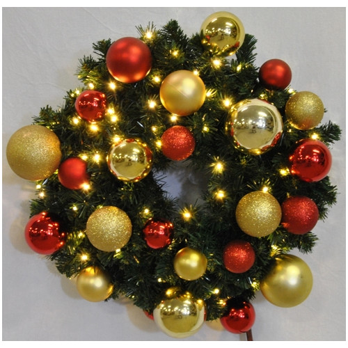 Queens of Christmas Pre-Lit Sequoia Wreath Decorated with Ornament