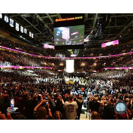The Cleveland Cavaliers Championship Banner Is Raised Before The Game Against The New York Knicks At Quicken Loans Arena On October 25 2016 Photo Print
