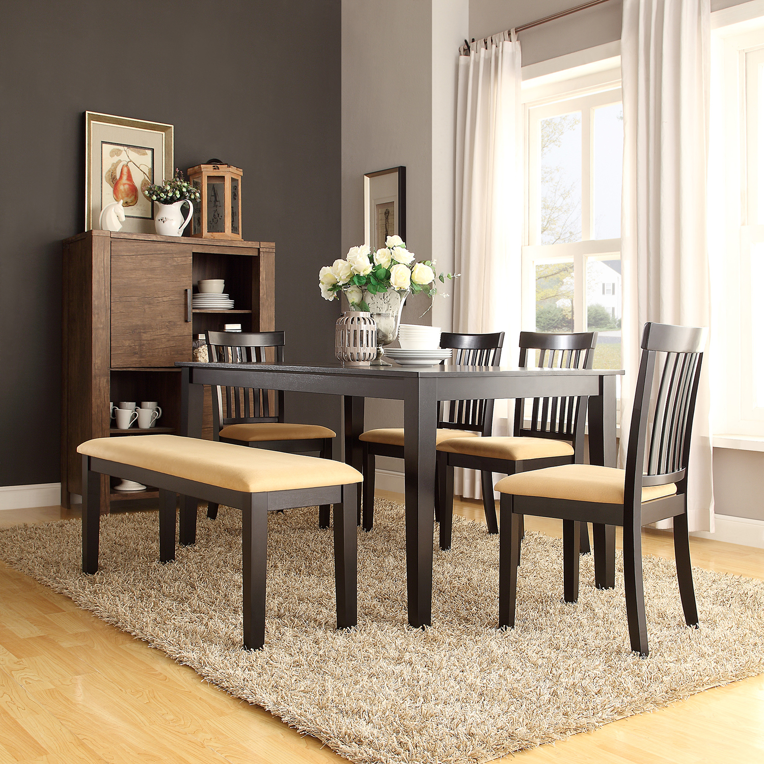 Lexington 6 Piece Large Dining Set With 4 Mission Back Chairs And