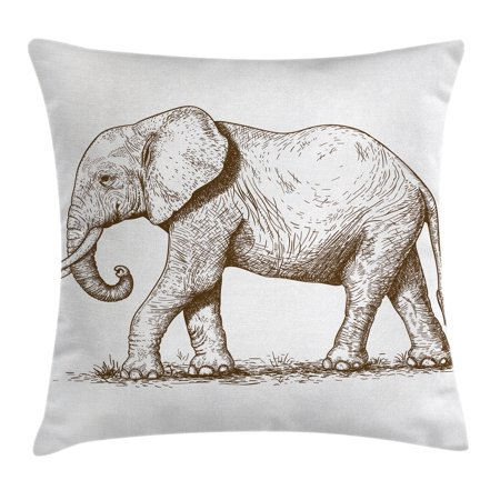 Wilderness Accent - Elephant Throw Pillow Cushion Cover, African Safari Animal Sketchy Style Mammal Modern Wilderness Artistic Illustration, Decorative Square Accent Pillow Case, 18 X 18 Inches, Gold White, by Ambesonne