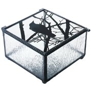 4 Inch Raven on Branch Clear Glass Decoration Novelty Trinket Box