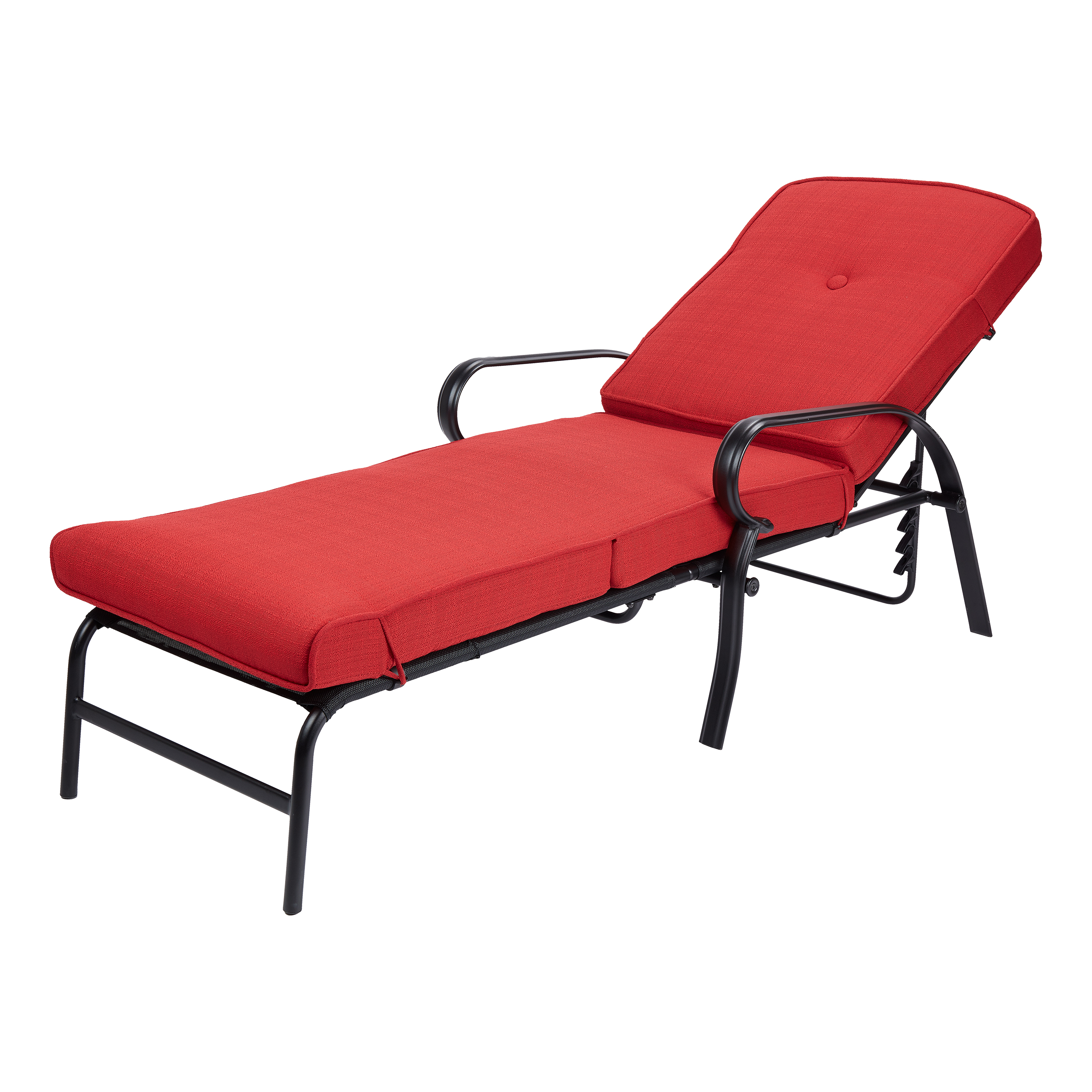 Mainstays Carson Creek Outdoor Chaise Lounge with Brick Red Cushions