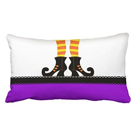 Winhome Vintage Modern Funny Halloween Witch Shoes Personalized White And Purple Polyester 20 X 30 Inch Rectangle Throw Pillow Covers With Hidden