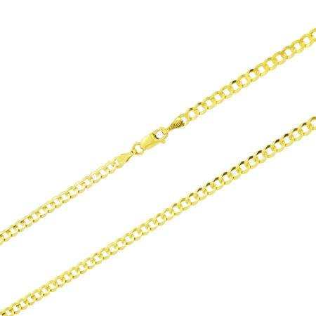 14k Yellow Gold Solid 3mm Cuban Curb Link Chain Pendant Necklace, 16