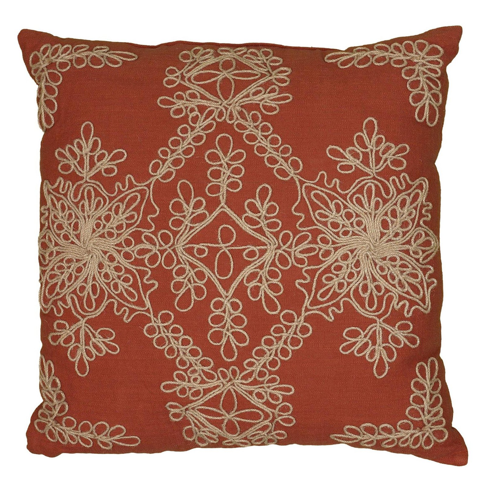 "Rizzy Home Medallion Poly Filled Decorative Throw Pillow, 18"" x 18"", Rust"