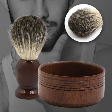 Vintage Soft Pure Badger Hair Shaving Brush and Bowl Wooden Mug Set for (Rosewood Shave Bowl)