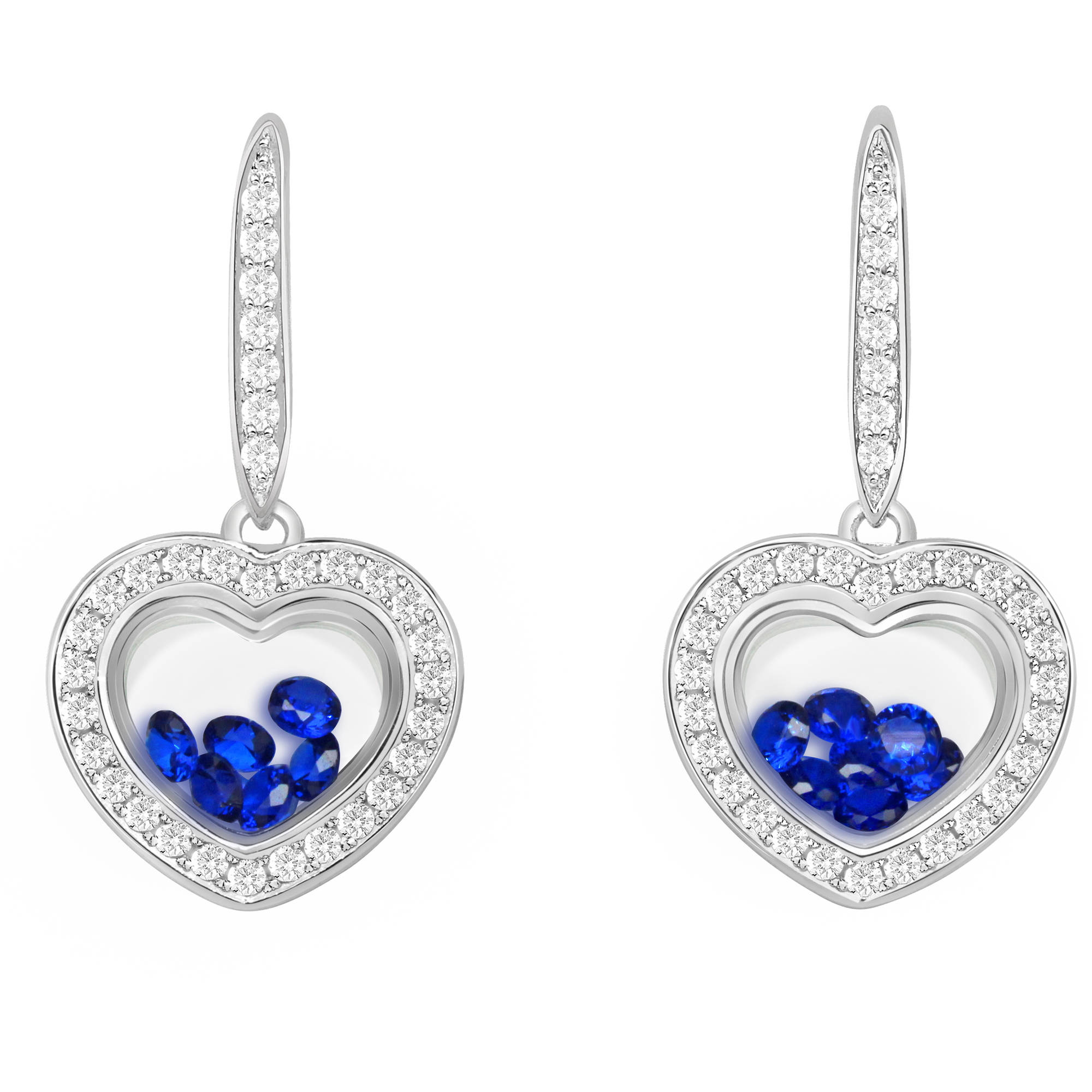 Chetan Collection Floating Dark Blue CZ Sterling Silver Designer Heart-Shape Earrings