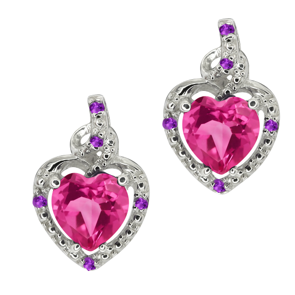 1.86 Ct Heart Shape Pink Mystic Topaz Purple Amethyst 14K White Gold Earrings
