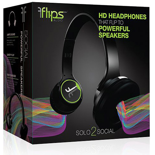 Flips Transforming Headphones, Black/Green