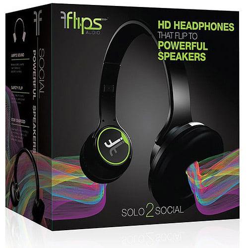 Flips Transforming Headphones and Speakers, Black/Green