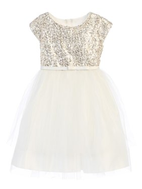 f1cd8107d2 Product Image Sweet Kids Little Girls Off-White Sequin Top Overlaid  Occasion Dress 2T-6