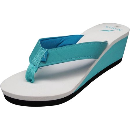 Maria Soft Footbed (Norty Womens Platform Wedge Soft Cushioned Footbed Flip Flop Thong Sandal - Runs One Size Small, 40688 Turquoise/Aqua/White / 6B )